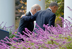 U.S.President Barack Obama (R) puts his arm around Vice President Joe Biden after making remarks on Republican President-elect Donald J. Trump's presidential victory over Former Secretary of State Hillary Clinton, at the White House, November 9, 2016, in Washington, DC. Obama invited Trump to visit the White House and promised a smooth transition. Photo by Mike Theiler/Pool/ABACAPRESS.COM