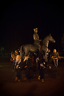 Viljandi, Estonia - July 25, 2015: At midnight during the Viljandi Folk Music Festival, a small group of people congregate around a statue of Johan Laidoner. An important figure in modern Estonian history, Laidoner was exiled by Stalin when the Soviet Union occupied Estonia in 1940. He died 13 years later, in 1953, at Vladimir Central Prison outside Moscow -- the same prison where U-2 pilot Francis Gary Powers would be held less than a decade later.
