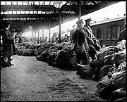 After the anti-English Irish uprising in Dublin, May 1916, public services were disrupted.  Here sacks of mail are piled up on the platform at Dublin station under the guard of British troops, awaiting distributiion. Photograph.