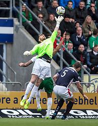 Hibernian's keeper Mark Oxley. <br /> Falkirk 0 v 3 Hibernian, Scottish Championship game played at The Falkirk Stadium 2/5/2015.