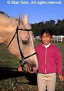 Horse Care Training, Horse Trainer, Trainer and 9-year-old-child, Portrait Asian American and Horse, Horse Farm, Perry County, PA