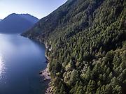 Olympic Mountains running along Lake Cushman. (Steve Ringman / The Seattle Times)