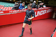 Leigh Halfpenny of Wales walks out of the tunnel for the Wales Rugby captains run, ahead of tomorrows RBS Six nations match against England. Principality Stadium, Cardiff, South Wales on Friday 10th Feb 2017.   pic by  Andrew Orchard, Andrew Orchard sports photography.