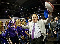 Dec 31, 2014; Atlanta , GA, USA; TCU Horned Frogs head coach Gary Patterson greets fans at an event prior to the game against the Mississippi Rebels in the 2014 Peach Bowl at the Georgia Dome. Mandatory Credit: Paul Abell/CFA Peach Bowl via USA TODAY Sports