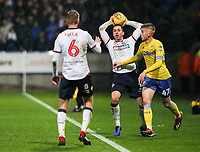 Bolton Wanderers' Andrew Taylor tries to tqke a quick throw-in<br /> <br /> Photographer Andrew Kearns/CameraSport<br /> <br /> The EFL Sky Bet Championship - Bolton Wanderers v Leeds United - Saturday 15th December 2018 - University of Bolton Stadium - Bolton<br /> <br /> World Copyright © 2018 CameraSport. All rights reserved. 43 Linden Ave. Countesthorpe. Leicester. England. LE8 5PG - Tel: +44 (0) 116 277 4147 - admin@camerasport.com - www.camerasport.com