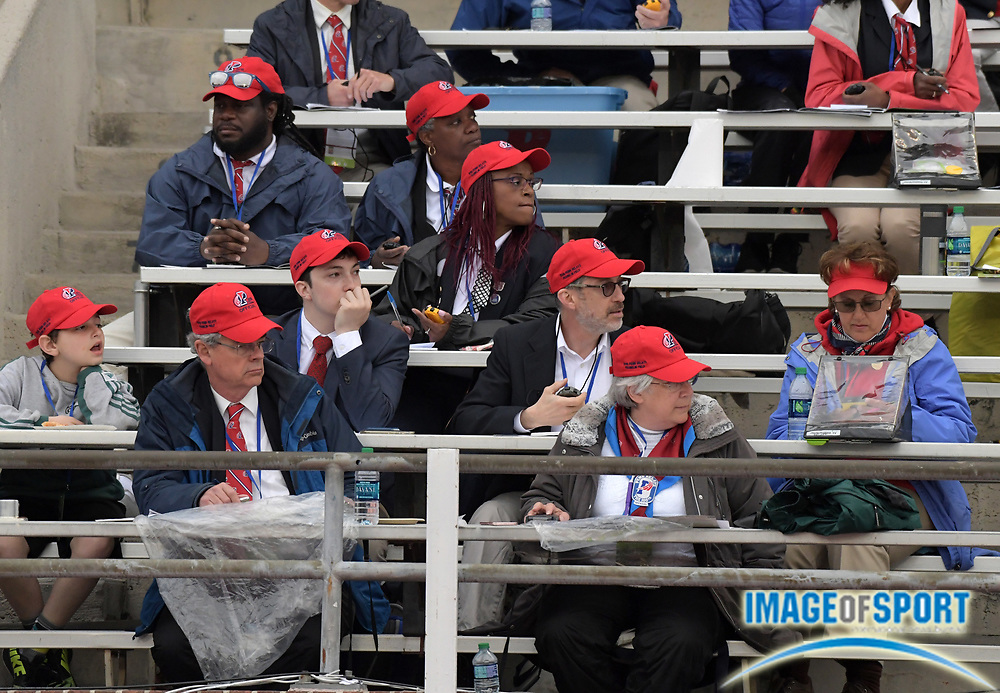 Apr 27, 2018; Philadelphia, PA, USA; Officials take splits on stopwatches during the 124th Penn Relays at Franklin Field.