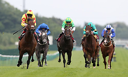 Harry Angel (left) ridden by Alan Kirby wins the Armstrong Aggregates Sandy Lane Stakes, at Haydock Park Racecourse.