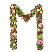 Capital Letter M Part of a set of letters, Numbers and symbols of the Alphabet made with flowers, branches and leaves on white background