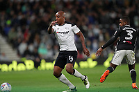 DERBY, ENGLAND - MAY 11: - DCFC vs Fulham. Andre Wisdom, tackles a Fulham player