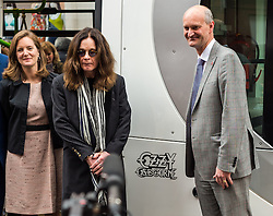 Ozzy Osbourne back home in Birmingham to unveil a Midland Metro tram named in his honour on a new route in the city centre.<br /> <br /> (c) John Baguley | Edinburgh Elite media