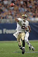 New Orleans quarterback Aaron Brooks fires the ball down field during the first half against St. Louis at the Edward Jones Dome in St. Louis, Missouri, October 23, 2005.  The Rams beat the Saints 28-17.