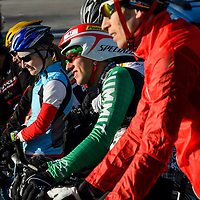 021514  Adron Gardner/Independent<br /> <br /> Competitors bunch up on the start line for the 2014 Mount Taylor Winter Quadrathlon in Grants Saturday.