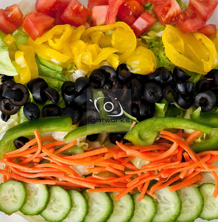 Vibrant garden vegetable salad served at Dezereta Inc. in Colorado City, Arizona. Image is for menu board at restaurant.