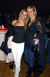 Left to right, ANDREA HISLOP and TANIA BRYER at the Myla Debutantes Coming-Out show held at The Porchester Hall, Porchester Road, London on 31st January 2006.<br />