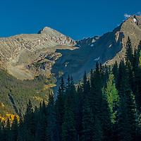 Fall colors glow in the Rocky Mountains near Silverton, Colorado.