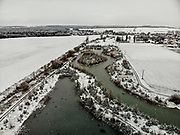 Winter time at the recreational area in the municipality of Stara Lysa which received a state subsidy from the EU Fund under the Operational Program Environment for the project 'Wetland' in 2009. 85% of the costs were covered by the EU fund.