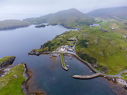 Aerial view from drone of Rodel harbour on Isle of Harris, Scotland ,UK