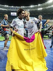 (L-R) bullfighter Alejandro Talavante, Sergio Ramos of Real Madrid during the UEFA Champions League final between Real Madrid and Liverpool on May 26, 2018 at NSC Olimpiyskiy Stadium in Kyiv, Ukraine