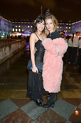 Left to right, DAISY LOWE and PORTIA FREEMAN at Skate At Somerset House with Fortnum & Mason on 16th November 2016.