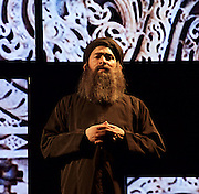 Another World <br /> Losing Our Children To Islamic State <br /> directed by Nicholas Kent <br /> at Temporary Theatre, National Theatre, Southbank, London, Great Britain<br /> Press photocall <br /> 14th April 2016 <br /> <br /> Nabil Elouahabi as Bagdhadi<br /> <br /> <br /> <br /> Photograph by Elliott Franks <br /> Image licensed to Elliott Franks Photography Services