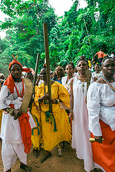 LAGOS, Aug. 26, 2013  Religious personnel take part in a ritual during the Osun Osogbo festival, or the river goddess festival, in Osogbo, capital of southwest Nigeria's Osun State, on Aug. 23, 2013. Every August in Osogbo, the festival presents an opportunity for the indigenes of Osogbo, their friends and well-wishers as well as fun-loving tourists to converge in town for the yearly celebration. The festival has gained a global recognition to such an extent that the Osun Grove was enlisted as a world heritage site in 2005.   (Xinhua/Zhang Weiyi) (Credit Image: © Xinhua via ZUMA Wire)