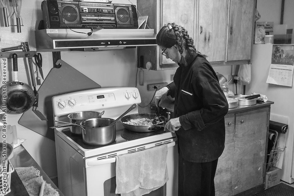 Station chef Lisa Mineli making lunch