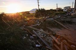 October 8, 2016 - Vilano Beach, Florida, U.S. - WILL VRAGOVIC   |   Times.Debris left in the wake of Hurricane Matthew piles along the beach in Vilano Beach, Fla. on Saturday, Oct. 8, 2016. (Credit Image: © Will Vragovic/Tampa Bay Times via ZUMA Wire)