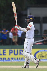 August 5, 2017 - Colombo, Sri Lanka - Sri Lankan cricketer Kusal Mendis celebrates  after scoring 50 runs during the 3rd Day's play in the 2nd Test match between Sri Lanka and India at the SSC international cricket stadium at the capital city of Colombo, Sri Lanka on Saturday 5th August 2017. (Credit Image: © Tharaka Basnayaka/NurPhoto via ZUMA Press)