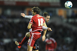 Richard Keogh of Derby County challenges for the header with Christian Stuani of Middlesbrough - Mandatory byline: Dougie Allward/JMP - 07966386802 - 18/08/2015 - FOOTBALL - iPro Stadium -Derby,England - Derby County v Middlesbrough - Sky Bet Championship