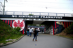 A general view of fans making their way to the stadium ahead of the UEFA Europa League Semi final, first leg match at The Frankfurt Stadion, Frankfurt.