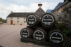 Barrels at the Glenfiddich Distillery in Dufftown, Scotland. It is a Speyside single malt Scotch whisky distillery owned by William Grant & Sons...