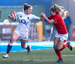 Abby Dow of England under pressure from Jess Kavanagh of Wales<br /> <br /> Photographer Simon King/Replay Images<br /> <br /> Six Nations Round 3 - Wales Women v England Women - Sunday 24th February 2019 - Cardiff Arms Park - Cardiff<br /> <br /> World Copyright © Replay Images . All rights reserved. info@replayimages.co.uk - http://replayimages.co.uk