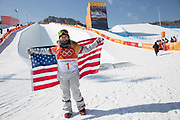 Chloe Kim, USA, wins the womens halfpipe final at the Pyeongchang Winter Olympics on 13th February 2018 at Phoenix Snow Park, South Korea