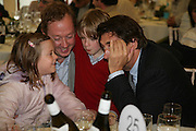 GEORDIE GREIG WITH HIS CHILDREN MONICA AND JASPER WITH BRYAN FERRY, Cartier Style et Luxe lunch. Goodwood.  24 June 2007.  -DO NOT ARCHIVE-© Copyright Photograph by Dafydd Jones. 248 Clapham Rd. London SW9 0PZ. Tel 0207 820 0771. www.dafjones.com.