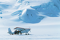Andy Williams' plane unloads in the St. Elias Icefields, Kluane National Park, Yukon
