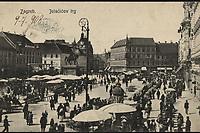 Zagreb : Jelačićev trg. <br /> <br /> ImpresumZagreb : Tiskare i papirnice A. Brusine, 1908.<br /> Materijalni opis1 razglednica : tisak ; 8,8 x 13,9 cm.<br /> SuradnikMosinger, Rudolf(1865.–1918.)<br /> NakladnikTiskara A. Brusina<br /> Mjesto izdavanjaZagreb<br /> Vrstavizualna građa • razglednice<br /> ZbirkaZbirka razglednica • Grafička zbirka NSK<br /> Formatimage/jpeg<br /> PredmetZagreb –– Trg bana Josipa Jelačića<br /> SignaturaRZG-JEL-7<br /> Obuhvat(vremenski)20. stoljeće<br /> NapomenaRazglednica je putovala 1908. godine. • Uz lijevi rub na poleđini razglednice otisnut je monogram Rudolfa Mosingera.<br /> PravaJavno dobro<br /> Identifikatori000952397<br /> NBN.HRNBN: urn:nbn:hr:238:381305 <br /> <br /> Izvor: Digitalne zbirke Nacionalne i sveučilišne knjižnice u Zagrebu