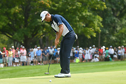 August 12, 2018 - St. Louis, Missouri, U.S. - ST. LOUIS, MO - AUGUST 12: Xander Schauffele putts on the #1 green during the final round of the PGA Championship on August 12, 2018, at Bellerive Country Club, St. Louis, MO.  (Photo by Keith Gillett/Icon Sportswire) (Credit Image: © Keith Gillett/Icon SMI via ZUMA Press)