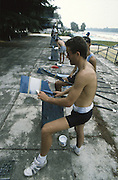 Milan ITALY,  General View ARG crews painting their blades in the national colours. 1997 Nations Cup U23  World Rowing Championships. Course, Idra Scala. Province of Milan.<br /> <br /> [Mandatory Credit; Peter Spurrier/Intersport-images] 1997 U23 Nations Cup U23 Championships. Milan Italy