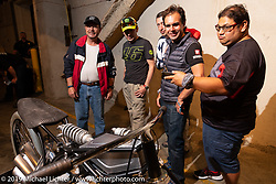 Checking out bikes on display at the Handbuilt Show. Austin, Texas USA. Friday, April 12, 2019. Photography ©2019 Michael Lichter.