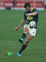 Rugby Union - 2021 British & Irish Lions Tour of South Africa - Second Test: South Africa vs British & Irish Lions<br /> <br /> Handre Pollard kicks for goal, at Cape Town Stadium, Cape Town.<br /> <br /> COLORSPORT / JOHAN ORTON