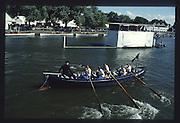 Henley on Thames. United Kingdom. Coastal Gig race Met Police Left.1990 Henley Royal Regatta, Henley Reach, River Thames. 06/07.1990<br /> <br /> [Mandatory Credit; Peter SPURRIER/Intersport Images] 1990 Henley Royal Regatta. Henley. UK