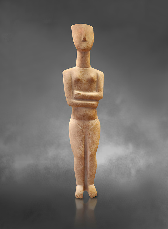 Marble female Cycladic statue figurine with folded arms of the Spedos type. Early Cycladic Period II (2800-2300 BC) from Naxos, Cat No 6195. National Archaeological Museum, Athens.   Gray background.<br /> <br /> <br /> This Cycladic statue figurine is of the Spedos type standing on tip tie with bended knees and arms folded under the breasts with head raiised. .<br /> <br /> If you prefer to buy from our ALAMY PHOTO LIBRARY  Collection visit : https://www.alamy.com/portfolio/paul-williams-funkystock/cycladic-art-artefacts.html Type into the LOWER SEARCH WITHIN GALLERY box to refine search by adding background colour, place, museum etc<br /> <br /> Visit our CYCLADIC CIVILISATIONS PHOTO COLLECTIONS for more photos to download or buy as wall art prints https://funkystock.photoshelter.com/gallery-collection/Cycladic-civilisation-Ancient-Greek-Artefacts-art-Photos-Pictures-Images/C0000CmevVvnC.XU