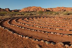United States, Utah, Ivins, Red Mountain Resort, spiral meditation labyrinth.  PR