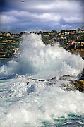 Crashing Waves Against the Rocks at La Jolla Cove