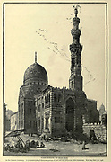 TOMB-MOSQUE OF KAIT BAY. In the Eastern Cemetery. It is constructed of alternate courses of pale red and yellowish white limestone. Kai't Bay died A.D. 1496 Wood engraving of from 'Picturesque Palestine, Sinai and Egypt' by Wilson, Charles William, Sir, 1836-1905; Lane-Poole, Stanley, 1854-1931 Volume 4. Published in 1884 by J. S. Virtue and Co, London