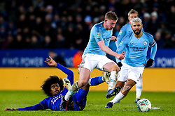 Kevin De Bruyne of Manchester City takes on Hamza Choudhury of Leicester City - Mandatory by-line: Robbie Stephenson/JMP - 18/12/2018 - FOOTBALL - King Power Stadium - Leicester, England - Leicester City v Manchester City - Carabao Cup Quarter Finals