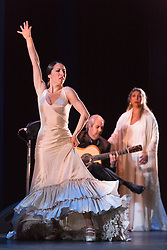 "© Licensed to London News Pictures. 28/02/2016. London, UK. L-R: Ana Morales, Miguel Angel Cortes and Esperanza Fernandez. Esperanza Fernandez ""De lo Jondo y Verdadero"" performance at Sadler's Wells Theatre during the Flamenco Festival London 2016. With Singer Esperanza Fernandez, Dancer Ana Morales, Singer Marina Heredia and Guitarist Miguel Angel Cortes. Photo credit: Bettina Strenske/LNP"