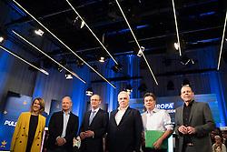 12.05.2019, Puls4 Studio, Wien, AUT, Puls4, Elefantenrunde zur Europawahl 2019, im Bild Die EU-Spitzenkandidaten Claudia Gamon (NEOS), Andreas Schieder (SPÖ), Othmar Karas (ÖVP), Johannes Voggenhuber (Liste Jetzt), Werner Kogler (Grüne) und Harald Vilimsky (FPÖ) // during political discussion due to elections of the european parliament 2019 in Vienna, Austria on 2019/05/12, EXPA Pictures © 2019, PhotoCredit: EXPA/ Michael Gruber