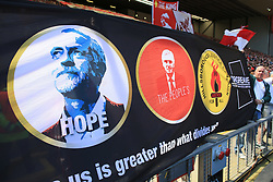 7th May 2017 - Premier League - Liverpool v Southampton - Liverpool fans display a banner in support of Jeremy Corbyn and the Labour Party - Photo: Simon Stacpoole / Offside.