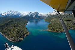 """""""Seaplane over Lake Tahoe 1"""" - Aerial photograph of Lake Tahoe and Emerald Bay. Shot from an amphibious seaplane with the door removed."""
